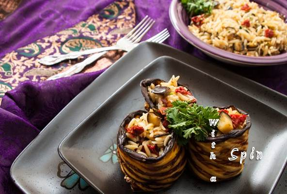 Grilled eggplant orzo 3